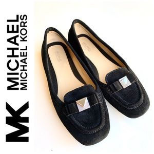 Michael by Michael Kors black leather suede flats.